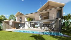 This house expresses natural materials and seamlessly integrates with the environment that surrounds it. Situated on a wild grass field the house elegantly floats above the landscape inviting the breeze to pass through it. House 2, Mauritius, Beautiful Islands, The Incredibles, Outdoors, Boat, Spaces, Mansions, Architecture