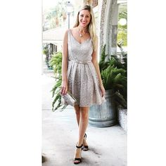 It's time to think Holiday parties!!! This beautiful metallic lace dress will have you dazzling at your Christmas soirée! Shop our website--link in profile. #tfssi #stsimons #seaisland #Christmas2015 #holidayparty