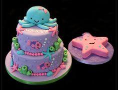 Under the Sea Baby Shower Cupcakes, Cupcake Cakes, Sea Cakes, Mermaid Cakes, Under The Sea Party, Little Mermaid Parties, 1st Birthday Parties, 3rd Birthday, Birthday Ideas