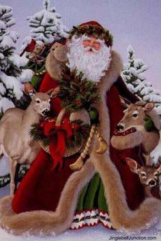 Woodland Father Christmas by Margaret Cobane Santa Claus, St. Christmas Scenes, Father Christmas, Christmas In July, Christmas Pictures, Winter Christmas, Merry Christmas, Christmas Kitten, Christmas Animals, Christmas Christmas