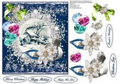 Snowflake Blue Scenic Topper with Decoupage on Craftsuprint - Add To Basket!