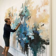 "In the studio - commission piece 72""x144"" #contemporaryart #largescale #modernart #abstractlandscape #abstractart #art #artiststudio #wip #artist #la #color #blue #interiors #contemporarylandscape #painting #abstractpainting #interiordesign #carlosramirez"