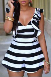 Sexy Plunging Neck Sleeveless Flounced Striped Women's Romper