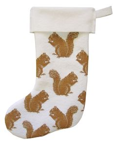 HOLIDAY SALE squirrel stocking on recycled felt. $15.00, via Etsy.