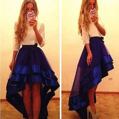 Royal Blue O Neck High Low Organza A Line Prom Evening Dress Cwb0333