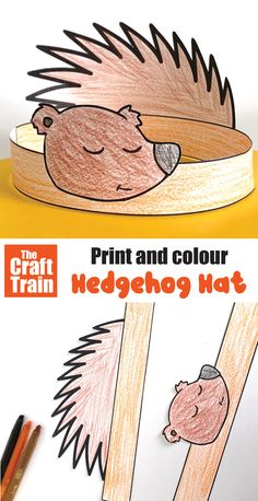 Printable template to create a cute hedgehog hat from paper. This is a fun kids craft perfect for Autumn or Fall and so easy to make – simple print, colour and glue #hedgehog #kidscraft #printablecraft #hedgehogcraft #woodlandanimals #fallcraft #fall #animalcrafts #papercrafts #freeprintables #thecrafttrain Fun Crafts For Kids, Animal Crafts For Kids, Easy Arts And Crafts, Craft Activities For Kids, Kid Crafts, Hedgehog Craft, Cute Hedgehog, Simple Prints, Simple Art