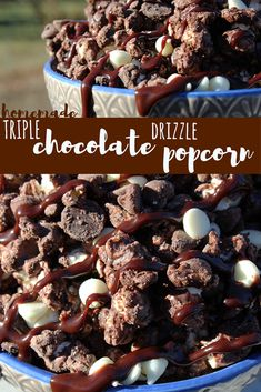 Say chocolate three times and you've got yourself a delicious popcorn recipe! This homemade Triple Chocolate Drizzle Popcorn recipe is for all our chocolate lovers out there! Delicious, decadent and definitely chocolate-y! Popcorn Snacks, Popcorn Balls, Gourmet Popcorn, Popcorn Recipes, Candy Recipes, Snack Recipes, Dessert Recipes, Homemade Popcorn, Flavored Popcorn