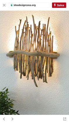 Huis: Verlichting & Kaarsen ~ Pin via Dreamcatchers-Shop ~ - Machen, machen, machen Driftwood Lamp, Driftwood Projects, Wood Lamps, Home Crafts, Diy Home Decor, Deco Luminaire, Deco Nature, Lamp Design, Wood Design
