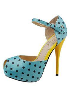 Love these!! blue polkadots on yellow platform ankle straps. So Betsy Johnson! MonaRAEbeads.etsy...