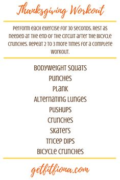 Today I'm sharing a Thanksgiving workout that can be done at home with next to no equipment. It's hard to believe that Canadian Thanksgiving is this weekend. It felt like September flew by! I'm not complaining though, because I'm looking Gym Workouts, At Home Workouts, Fitness Tips, Health Fitness, Holiday Workout, Canadian Thanksgiving, Bicycle Crunches, Jillian Michaels, At Home Workout Plan