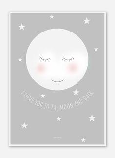 Illustrationen - Mond Bild / Poster für das Kinderzimmer DIN A4 - ein Designerstück von petit_pois bei DaWanda