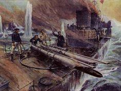 Willy Stöwer - Torpedoboot SMS V 44 in Aktion in der Schlacht vor dem Skagerrak am 31. Mai 1916