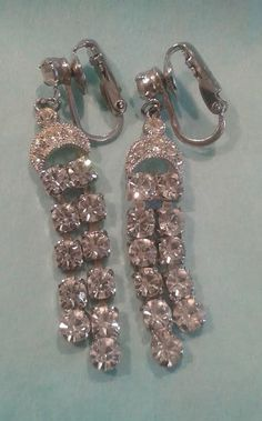 Vintage Eisenberg Earrings Clear Rhinestone Dangle. Signed with script E, 1940's