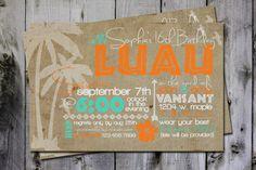 Hawaiian burlap birthday party invitation - digital, custom, printable file on Etsy, $15.00