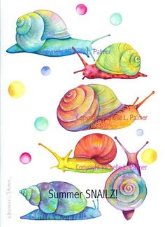 Watercolor snails by Michelle Palmer Watercolor Animals, Watercolour Painting, Painting & Drawing, Watercolors, Animal Drawings, Art Drawings, Snail Art, Watercolor Techniques, Cute Art
