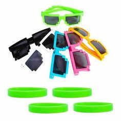 Awesome Minecraft Party Favors: Pixel Glasses & Wristbands