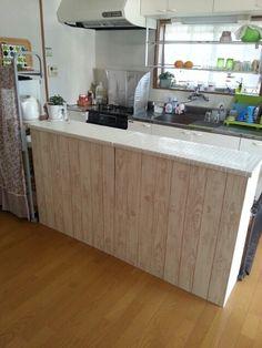 *完成* DIY タイル貼りキッチンカウンターをカラーボックスで作る②   *chocotea* 主婦5年目