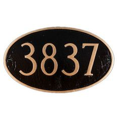 Montague Metal Products Oval Standard Address Plaque Color Background / Color Numbers: Sea Blue / Silver, Mounting: Lawn