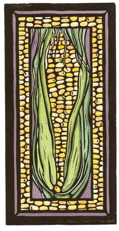 Corn #2 - Original Vegetable Image - Interior Design - Sarah Angst Fine Artist & Printmaker - original art created in Bozeman, Montana - www.sarahangst.com - #sarahangst