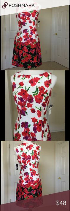 """Chaos Floral Sleeveless Dress 🎉HP🎉 Beautiful fuchsia & red floral with purple & green that really pops. Dresses up or down well and perfect for all your Spring & Summer occasions. A must for travel. Fitted w/o being snug. New w/ tags. 37"""" bust, 31"""" waist, 39"""" hip, length 35"""" from shoulder. Concealed back zipper 🌼Fabric: see photos  🎀Bundle discount  ⭐️5 star rated Suggested User 🚭Smoke free home 🚫No trades please  😍 Thank you for shopping with me. Please ask all questions before…"""