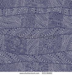 From Indigo Blue And Light Beige Hand Drawn Outline Geometrical Ornaments Wavy Stripes Fantasy Leaves With FlowerColoring Book Page