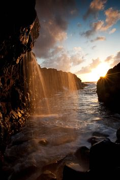 Golden Waterfall Vertical - Kauai, Hawaii
