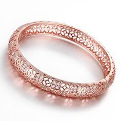 Dilanco 18K Rose Gold Plated Multi-Gemstone Hollow Bangle Bracelets *** Be sure…