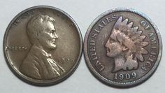 1909 Indian Head Cent & 1909-VDB Lincoln Wheat Cent