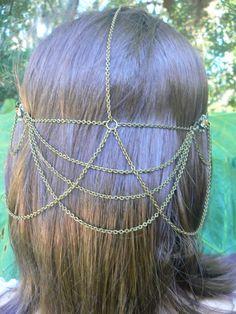 Renaissance head chain cosplay Renaissance festival medieval boho hipster dancer victorian tribal fusion goddess regal halo hair jewelry