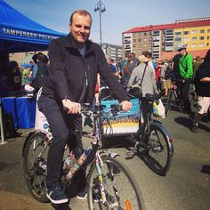 Instagram picutre by @gobikes.suomi: Mr. Pekka Salmi the deputy mayor of Tampere will use our ebike as his primary transport for the next week! #Tampere #tampereallbright  #ebike #newfactory #startup - Shop E-Bikes at ElectricBikeCity.com (Use coupon PINTEREST for 10% off!)