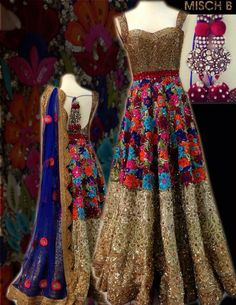 Floral embroidered anarkali by MischB Couture
