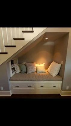 Incredible Under The Stairs Utilization Ideas Under stairs storage, ideas for the basement stairs some day.Under stairs storage, ideas for the basement stairs some day. Basement Bedrooms, Basement Stairs, House Stairs, Basement Ideas, Basement Apartment, Living Room With Stairs, Rustic Basement, Basement Ceilings, Basement Makeover