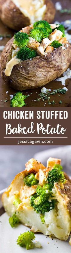 Chicken Broccoli Stuffed Baked Potato with Cheese Sauce - A balanced meal of protein, vegetables, and carbohydrates all in one crispy roasted potato! via @foodiegavin