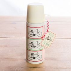 Classic Bicycle Design Flask & Cup