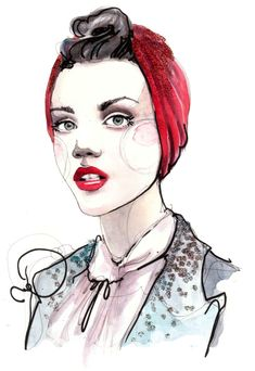 Scarlet Red: glorious #fashion #illustration from Katie Rodgers, aka @PAPERFASHION