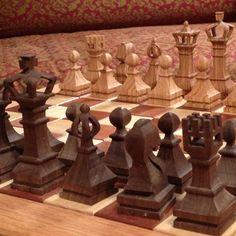 Handmade scroll saw chess pieces