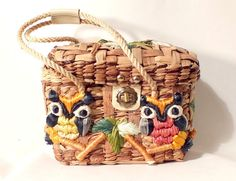 1970s Owl Purse  Natural Wood and Wicker with by BaileysBoudoir, $49.00...I just died