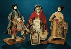 Three Rare English Peddler Dolls by C.H. White on Original Bases 3000/4500 | Art, Antiques & Collectibles Toys & Hobbies Dolls | Auctions Online | Proxibid