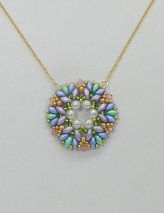 Beaded Swarovski pendant,Beaded SuperDuo pendant,Beaded Crystal,SuperDuo jewelry,Swarovski jewelry,Beaded jewelry - Spring Bouquet pendant