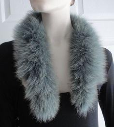 80s Grey Faux Fur Collar or Hood Border