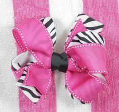 Hot Pink Moonstitch Zebra Print Hair Bow - $7.80