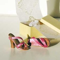 Barbie shoes from polymer clay, ribbons, etc. I'm so doing this.