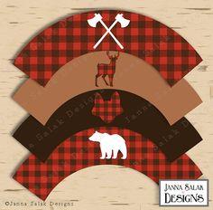 Lumberjack Cupcake Wrappers Printable Buffalo by JannaSalakDesigns