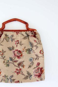 vintage 1950s hand bag / floral knitting bag by 86Vintage86