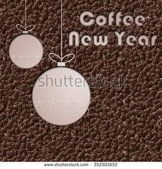White Christmas balls on the coffee beans 3D background with Coffee New Year text for greetings card - stock photo