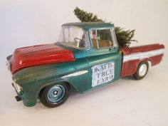 Green and red Chevy pickup 1/24 scale model by classicwrecks, $85.00