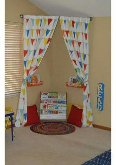 Make a reading corner in kids playroom by just hanging curved shower rod with some shelves, pillows, and a rug. Shower Rod, Toy Rooms, Learning Spaces, Book Nooks, Girl Room, Child's Room, Baby Room, Kids Bedroom, Boy Bedrooms
