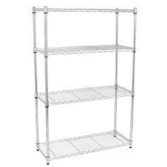 55 in. H x 14 in. W x 35 in. D Chrome 4-Layer Shelves Kitchen Cart Storage Organizer