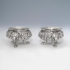 Maximize A Pair of Victorian Antique English Silver Salts London, 1848 by Daniel & Charles Houle