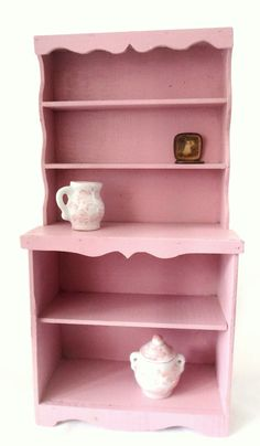 Vintage Pink Wooden Doll Cupboard, China Cupboard, Dollhouse Furniture, Barbie Furniture, Shabby Chic, Small Pink Cupboard